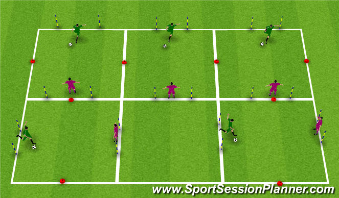 Football/Soccer Session Plan Drill (Colour): 1v1 Shooting