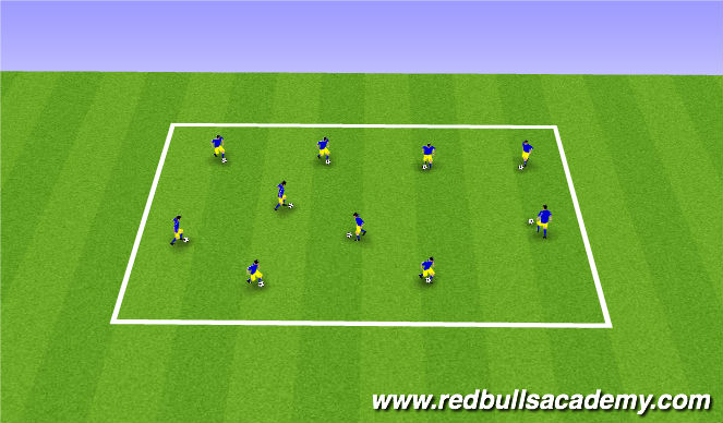 Football/Soccer Session Plan Drill (Colour): Warm Up - Musical Chairs
