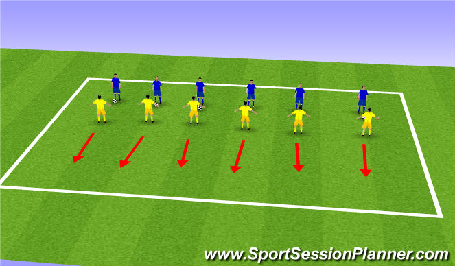 Football/Soccer Session Plan Drill (Colour): Warm up 1v1 defending