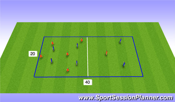 Football/Soccer Session Plan Drill (Colour): 5v4 + 1v2 Possession