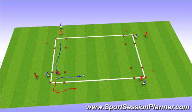 Football/Soccer Session Plan Drill (Colour): speed with and without ball