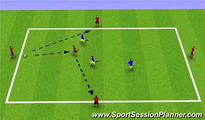 Football/Soccer Session Plan Drill (Colour): 3v5 possession