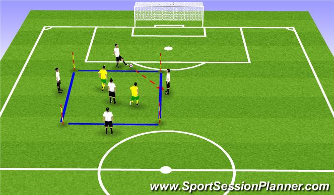 Football/Soccer Session Plan Drill (Colour): 4v2+1 Possession Game