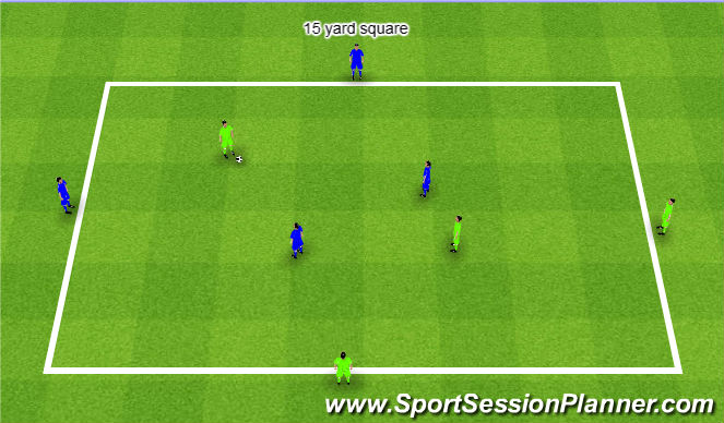 Football/Soccer Session Plan Drill (Colour): Offset 4v2