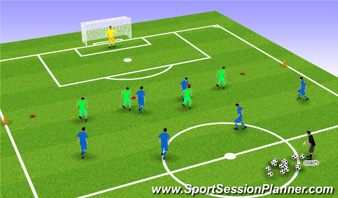 Football/Soccer Session Plan Drill (Colour): Stage 3 - 6 v 4 numbers down