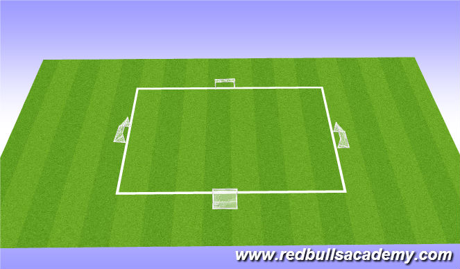Football/Soccer Session Plan Drill (Colour): Four goal WC