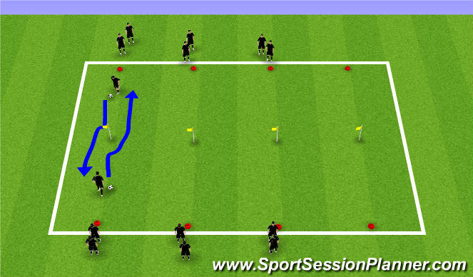 Football/Soccer Session Plan Drill (Colour): Warm-up Attacking 1v1 Skills