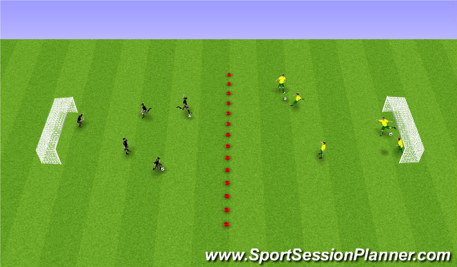 Football/Soccer Session Plan Drill (Colour): Skot á milli marka.
