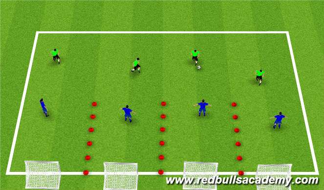 Football/Soccer Session Plan Drill (Colour): 4v4 Channels