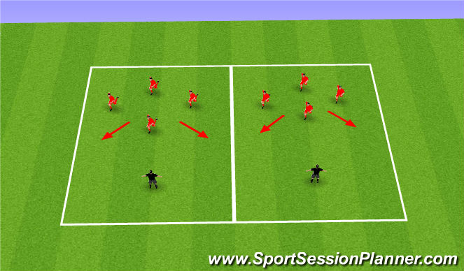 Football/Soccer Session Plan Drill (Colour): Team Shape Movement Intro