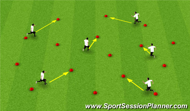 Football/Soccer Session Plan Drill (Colour): Cones Warm Up