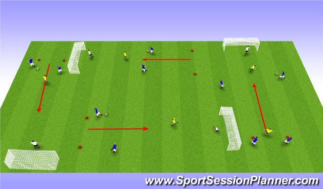 Football/Soccer Session Plan Drill (Colour): 3 og 3 saman með 1 bolta.