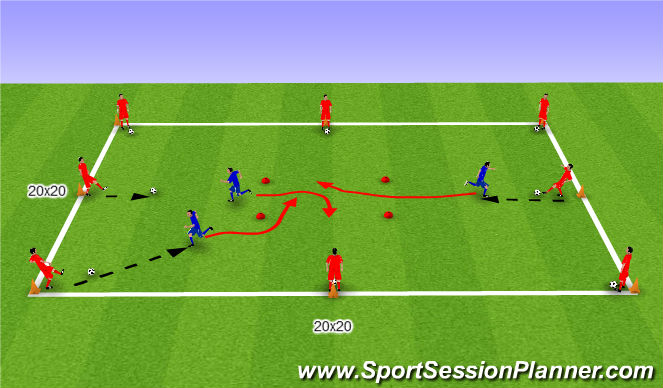 Football/Soccer Session Plan Drill (Colour): Passing receiving