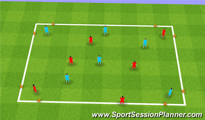Football/Soccer Session Plan Drill (Colour): 4 Goal Diagonal Game