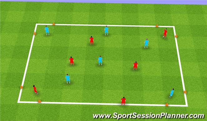 Football/Soccer Session Plan Drill (Colour): 4 Goal Diagonal Game