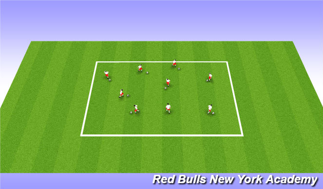 Football/Soccer Session Plan Drill (Colour): Juggle/Dribble Warmup