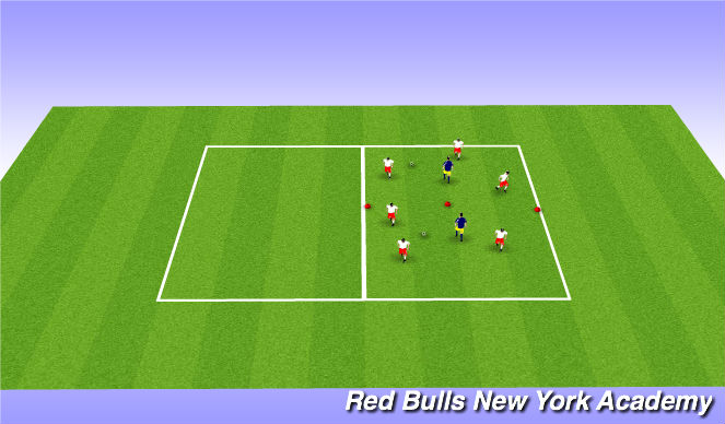 Football/Soccer Session Plan Drill (Colour): 3v1x2 pos (directional)