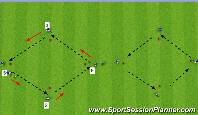 Football/Soccer Session Plan Drill (Colour): Tech. Passing Warm-up