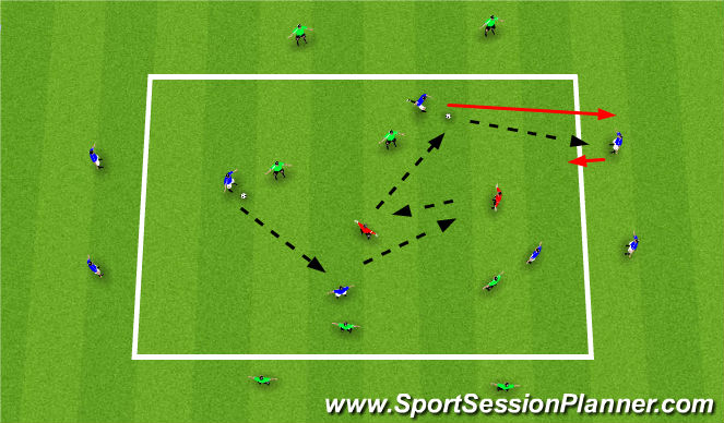Football/Soccer Session Plan Drill (Colour): 4v4 + 2 In the grid