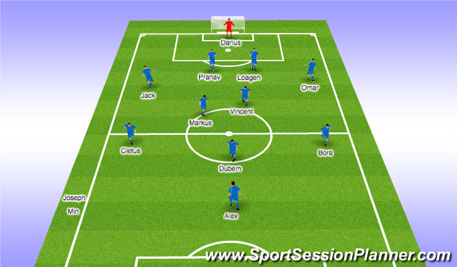 Football/Soccer Session Plan Drill (Colour): 1st Half Subs