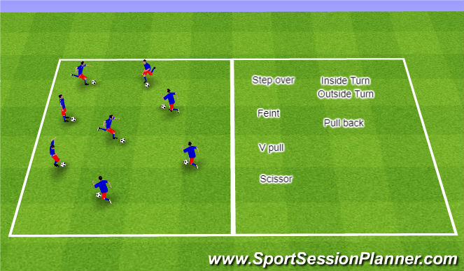 Football/Soccer Session Plan Drill (Colour): Warm Up: Ball Control