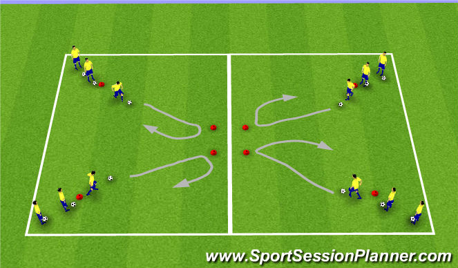 Football/Soccer Session Plan Drill (Colour): A: Ball Control