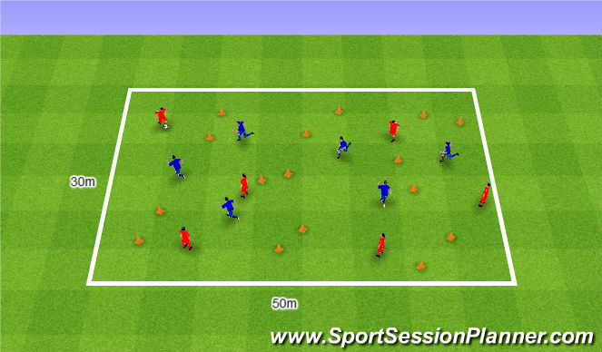 Football/Soccer Session Plan Drill (Colour): 6v6.