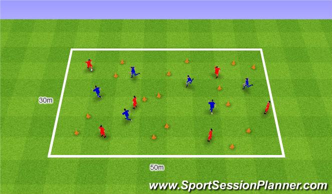 Football/Soccer Session Plan Drill (Colour): 6v6.