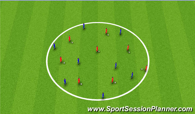 Football/Soccer Session Plan Drill (Colour): Staying on the ball - Circle