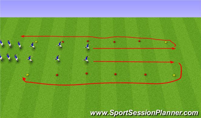 Football/Soccer Session Plan Drill (Colour): FIFA 11+ upphitun.