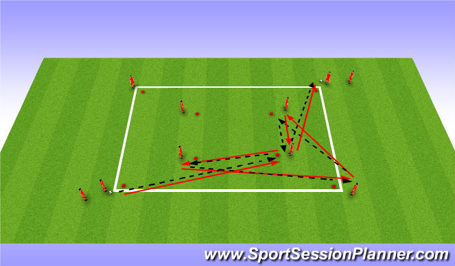 Football/Soccer Session Plan Drill (Colour): Advanced Double Passing Square