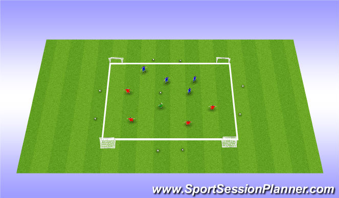 Football/Soccer Session Plan Drill (Colour): 4 Goal Game Tournament