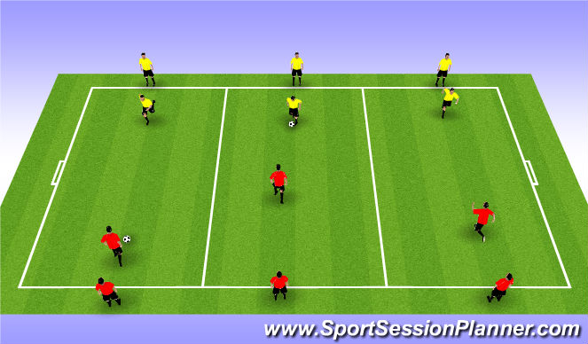 Football/Soccer Session Plan Drill (Colour): 1 v 1 (15 min)