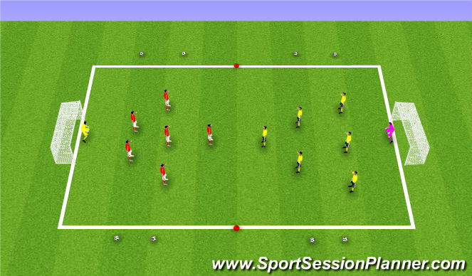 Football/Soccer Session Plan Drill (Colour): SSG: 6v6