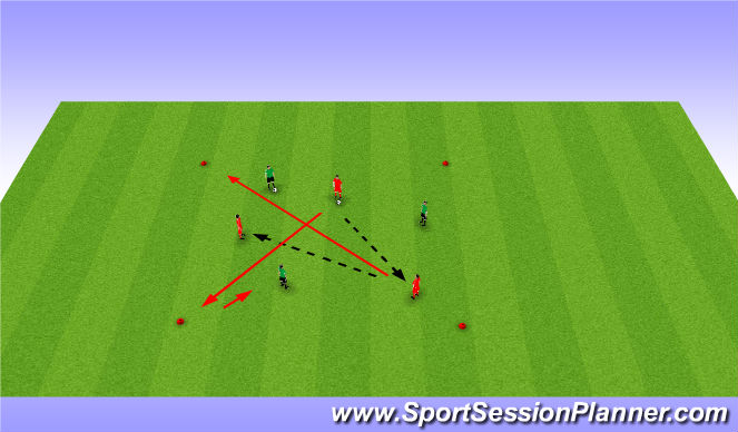 Football/Soccer Session Plan Drill (Colour): Pass and move to corner cones