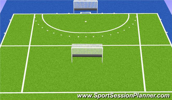 Hockey Session Plan Drill (Colour): Partij recht van aanval met omgekeerd doel