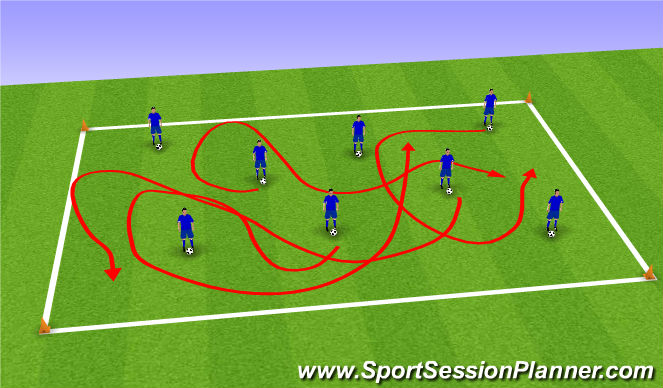 Football/Soccer Session Plan Drill (Colour): warm up/ball mastery