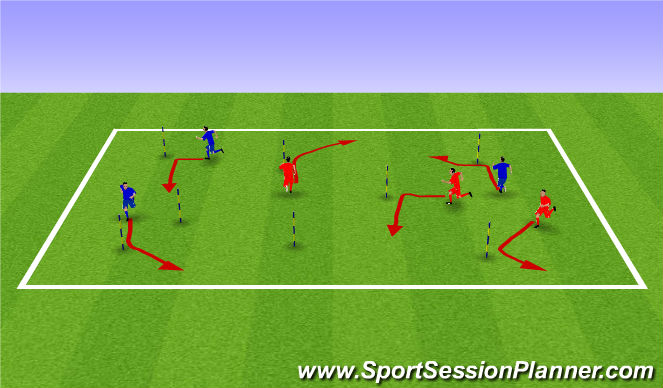 Football/Soccer Session Plan Drill (Colour): Activity 1 - Physical literacry combined w/ changing of speed