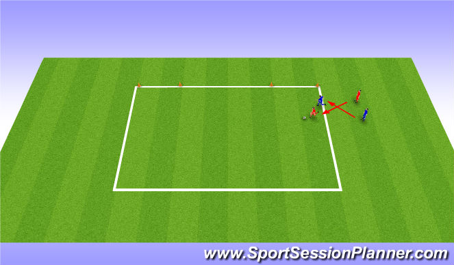 Football/Soccer Session Plan Drill (Colour): 1v1 pressure from the side