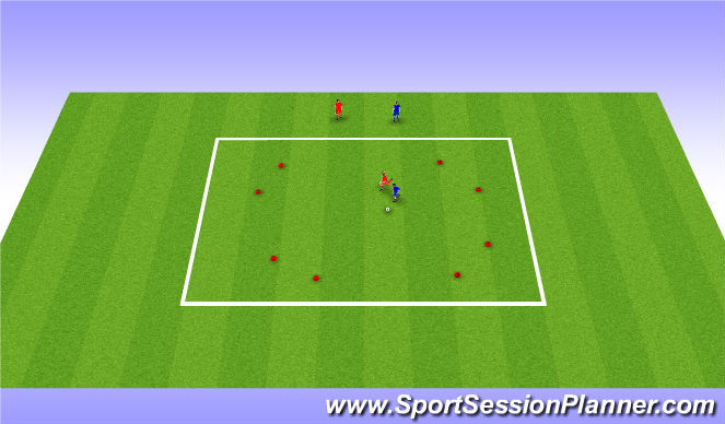 Football/Soccer Session Plan Drill (Colour): 1v1/2v2 to multiple gates