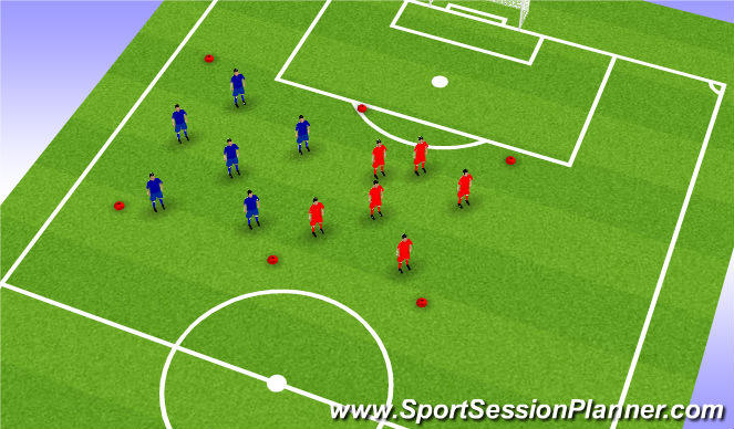 Football/Soccer Session Plan Drill (Colour): Warm up - 10-15 mins