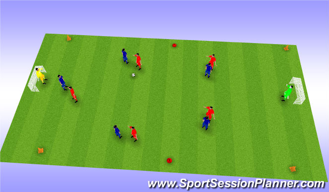 Football/Soccer Session Plan Drill (Colour): 6 v 6 Game (20-25mins)