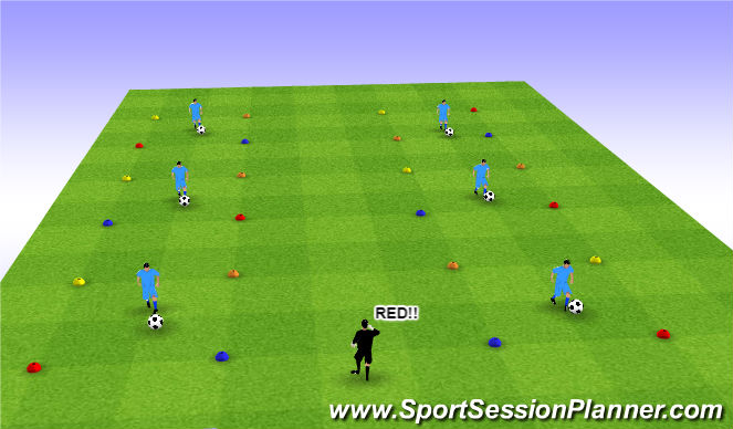 Football/Soccer Session Plan Drill (Colour): Ball Mastery w/ Reaction