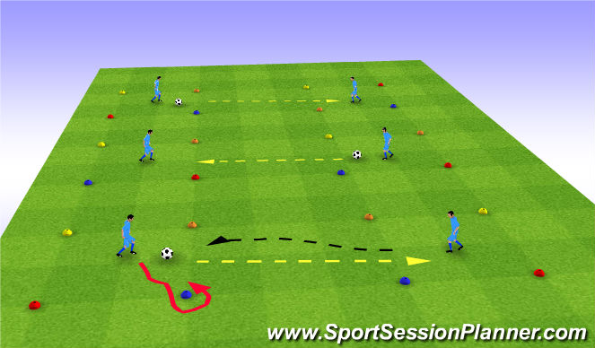 Football/Soccer Session Plan Drill (Colour): Movement after Passing , Pair