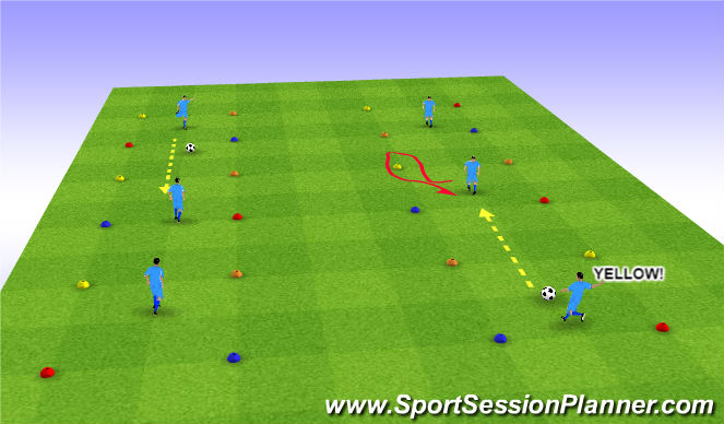 Football/Soccer Session Plan Drill (Colour): Movement Before receiving. Team positional