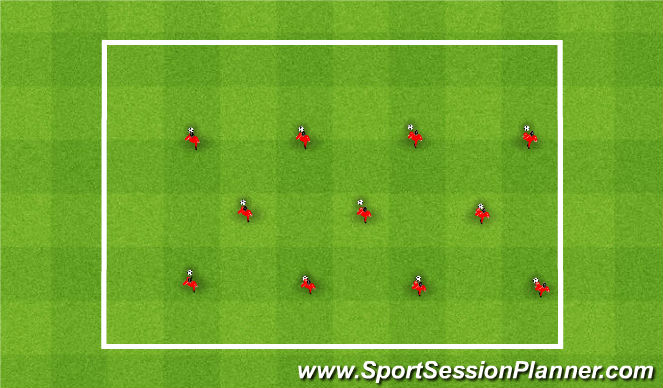 Football/Soccer Session Plan Drill (Colour): Fast Footwork Example 1