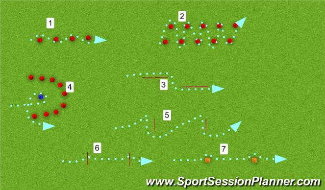 Hockey Session Plan Drill (Colour): 2. Parcours - techniek