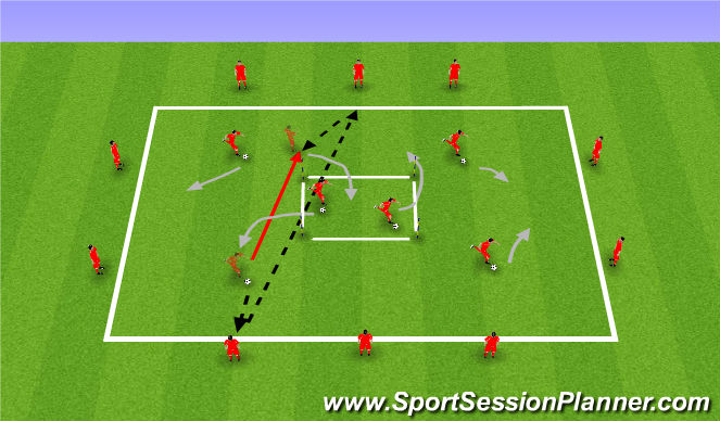 Football/Soccer Session Plan Drill (Colour): Long Passes