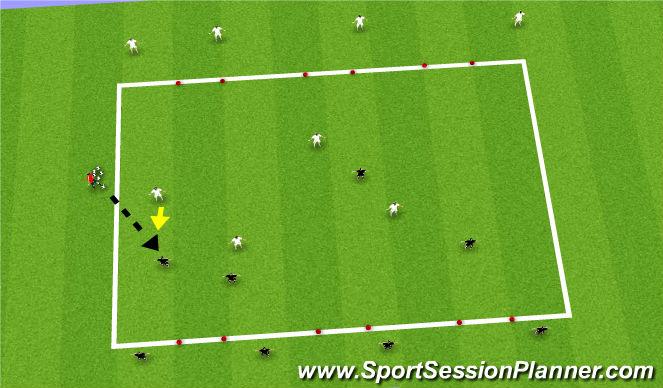 Football/Soccer Session Plan Drill (Colour): 4v4 6 Goal Game