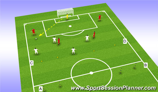 Football/Soccer Session Plan Drill (Colour): Playing out and switching